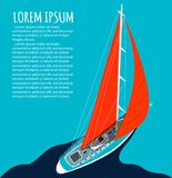 Projeto do inseto do yacht club com barco de vela ilustração do vetor