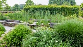 Projeto do jardim com elementos da água Fotografia de Stock Royalty Free