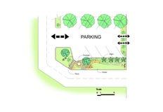 Projeto do jardim do parque de estacionamento Imagem de Stock Royalty Free