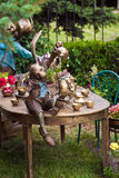 Projeto do jardim que ajardina com fonte Imagens de Stock