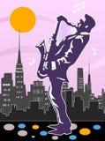Projeto do jogador do saxofone fotografia de stock royalty free