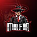 Projeto do jogo da mascote do logotipo da máfia ilustração do vetor