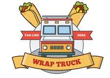 Projeto do logotipo do caminhão do alimento especializado na imagem dos envoltórios ilustração do vetor