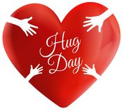 Projeto do logotipo do coração do abraço do amor ilustração do vetor