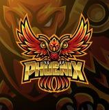 Projeto do logotipo da mascote do esporte de Phoenix ilustração stock