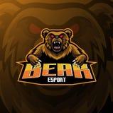 Projeto do logotipo da mascote do esporte do urso ilustração stock