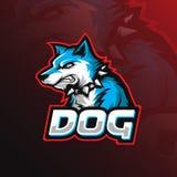 Projeto do logotipo da mascote do vetor do cão com estilo moderno do conceito da ilustração para a impressão do crachá, do emblem ilustração stock