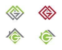 Projeto do logotipo de Real Estate, da propriedade e da construção Fotografia de Stock