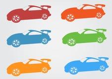 Projeto do logotipo do carro vermelho, amarelo, verde, azul, símbolo do carro Fotos de Stock