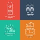 Projeto do logotipo do engraxamento de sapatos ilustração do vetor