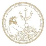 Projeto do logotipo do poseidon do círculo ilustração royalty free