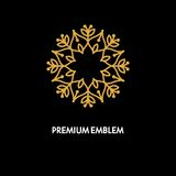 Projeto do logotipo do vetor conceptual do molde e conceito redondos do monograma no estilo linear na moda, crachá floral, emblem Fotografia de Stock Royalty Free