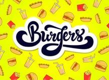 Projeto do logotipo dos hamburgueres Logotype tirado mão ilustração royalty free