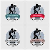 Projeto do logotipo do estúdio da fotografia do fotógrafo ilustração do vetor