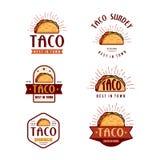 Projeto do logotipo do fast food, estilo retro dos desenhos animados Ilustração moderna dos ícones do taco ilustração royalty free