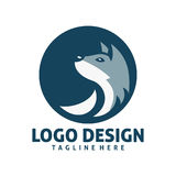 Projeto do logotipo do lobo do círculo Foto de Stock Royalty Free