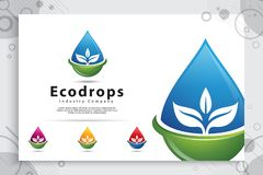 Projeto do logotipo do vetor da gota da água com conceito moderno da cor, água mineral fresca do símbolo da ilustração para saudá imagem de stock