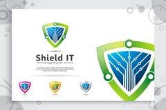 projeto do logotipo do vetor da tecnologia do protetor 3d com conceito moderno, s?mbolo abstrato da ilustra??o da seguran?a do cy fotografia de stock