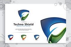 projeto do logotipo do vetor da tecnologia do protetor 3d com conceito moderno, s?mbolo abstrato da ilustra??o da seguran?a do cy foto de stock