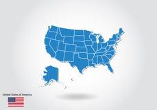 Projeto do mapa do Estados Unidos com estilo 3D Os EUA azuis traçam e bandeira nacional Mapa simples do vetor com contorno, forma ilustração stock