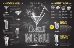 Projeto do menu do cocktail do desenho de giz do vintage Menu das bebidas ilustração royalty free