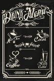 Projeto do menu da bebida do restaurante com quadro ilustração do vetor