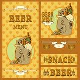 Projeto do menu da cerveja com vários elementos Fotos de Stock
