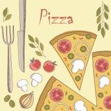 Projeto do menu da pizza Ilustração do Vetor