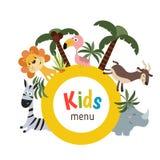 Projeto do menu das crianças Fotos de Stock