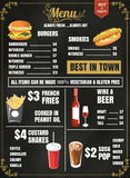 Projeto do menu do alimento do restaurante com vetor FO do fundo do quadro Imagens de Stock Royalty Free