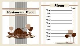 Projeto do menu do restaurante Imagem de Stock