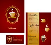 Projeto do menu e do molde do cartão - café ilustração royalty free