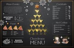 Projeto do menu do Natal com vidros dourados do champanhe O jantar de casamento com carne do rolo fumou e tomates ilustração royalty free