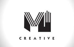 Projeto do MI Logo Letter With Black Lines Linha vetor Illus da letra Fotos de Stock Royalty Free
