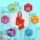 Projeto do molde de Infographic com mulher ilustração royalty free