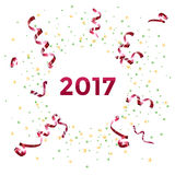 Projeto 2017 do molde do ano novo com flâmula e confetes fotografia de stock