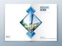 Projeto do molde do folheto da tampa Escuro - azul Informe anual da empresa, catálogo, compartimento, modelo do inseto creativo ilustração stock