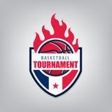 Projeto do molde do logotipo do esporte do basquetebol Fotos de Stock