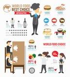 Projeto do molde do mundo do alimento de Infographic vetor do conceito ilustração stock