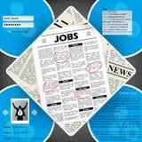 Projeto do molde do Web site dos candidatos a emprego Fotos de Stock