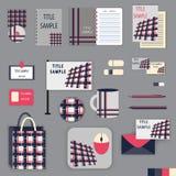 Projeto do molde dos artigos de papelaria com elementos cor-de-rosa e cinzentos do ornamento Imagens de Stock