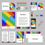 Projeto do molde dos artigos de papelaria do vetor com arco-íris Fotos de Stock