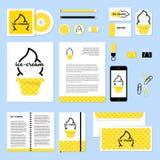 Projeto do molde dos artigos de papelaria do vetor com elementos do gelado Imagens de Stock Royalty Free