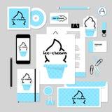 Projeto do molde dos artigos de papelaria do vetor com elementos do gelado Fotos de Stock