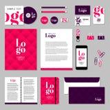 Projeto do molde dos artigos de papelaria do vetor com elementos do logotipo e do texto da amostra Imagem de Stock