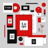 Projeto do molde dos artigos de papelaria do vetor com elementos do logotipo e do texto da amostra Fotos de Stock Royalty Free