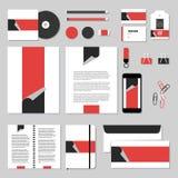 Projeto do molde dos artigos de papelaria do vetor com etiquetas Imagem de Stock