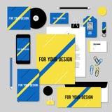 Projeto do molde dos artigos de papelaria do vetor com linha diagonal Imagens de Stock Royalty Free