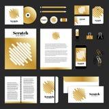 Projeto do molde dos artigos de papelaria do vetor com linha do scrath Fotos de Stock Royalty Free