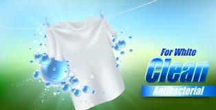 Projeto do molde do empacotamento para o pó de lavagem Realístico branco de matéria têxtil para anunciar o detergente ilustração royalty free